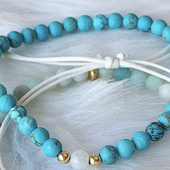 Turquoise Bracelet w/ Gold Beads and Moonstone - The Grinning Goat