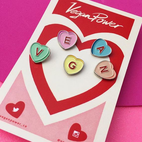 Vegan Candy Hearts Pins