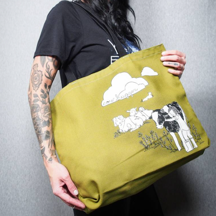 Olive Green Cow Hugger Tote - The Grinning Goat