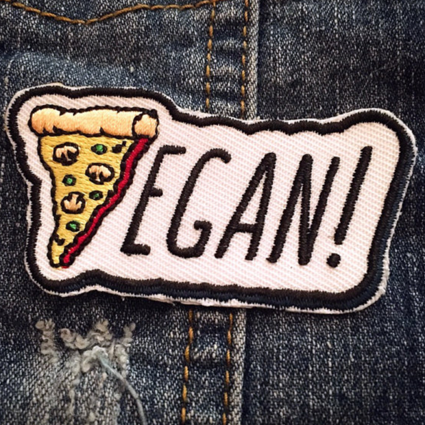 Vegan Pizza Iron on Patch - The Grinning Goat