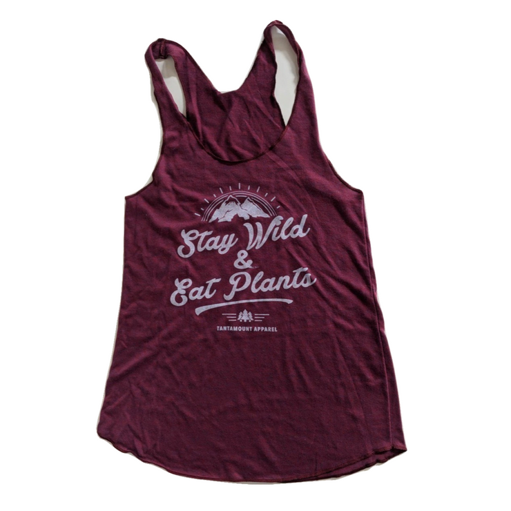 Stay Wild & Eat Plants Tank - Burgundy - The Grinning Goat