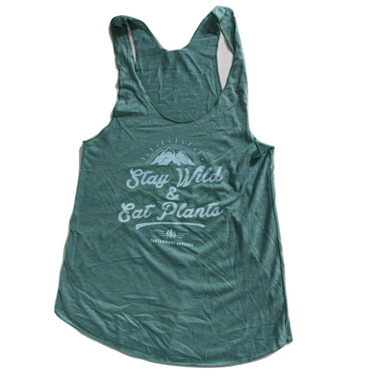 Stay Wild & Eat Plants Tank - Teal - The Grinning Goat