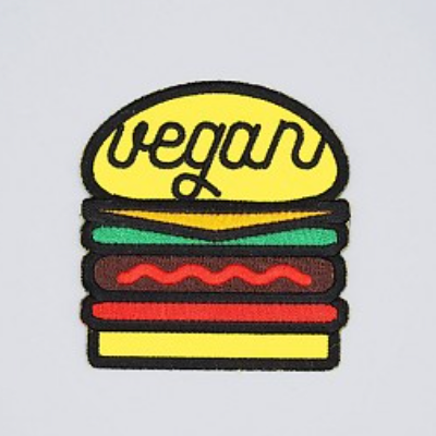 Vegan Burger Iron-On Patch - The Grinning Goat