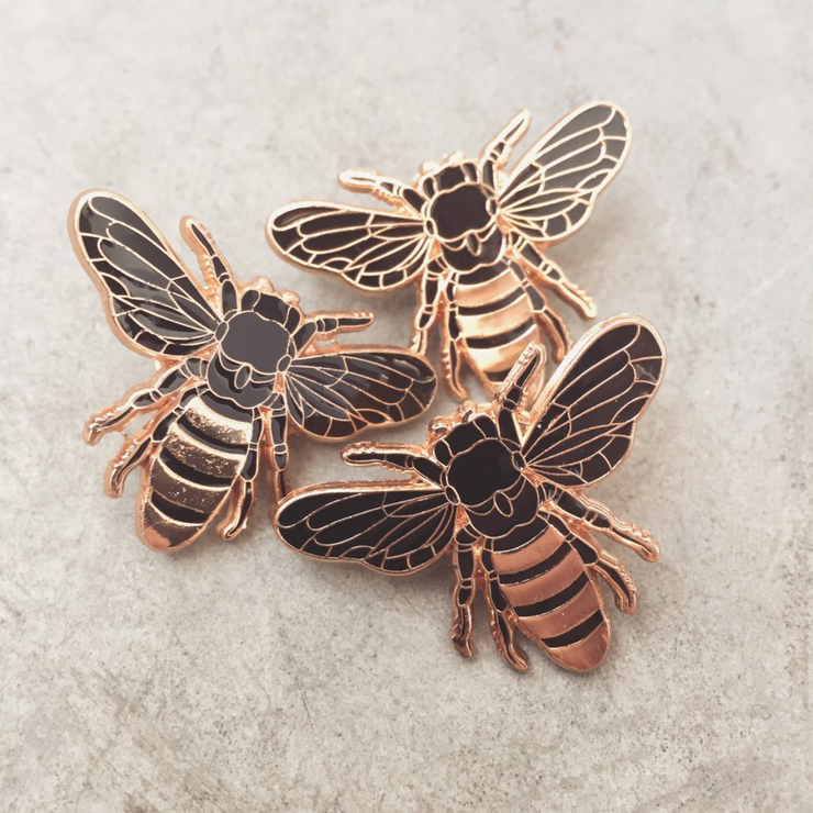 Gold Honey Bee Enamel Pin - The Grinning Goat