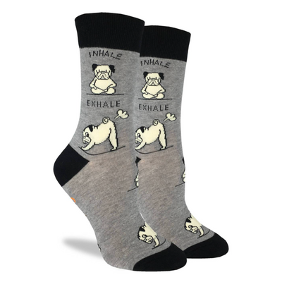 Yoga Pug Crew Socks - Women's