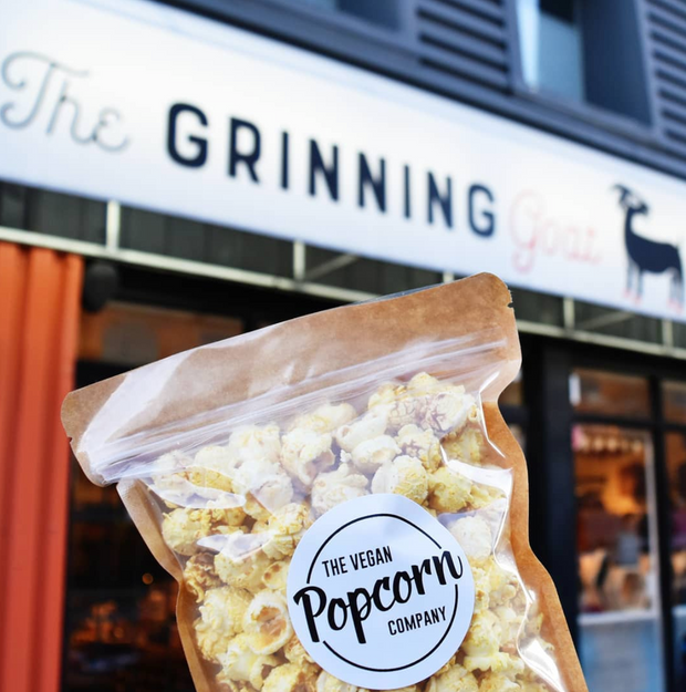 The Cheezy Garlic Vegan Popcorn - The Grinning Goat