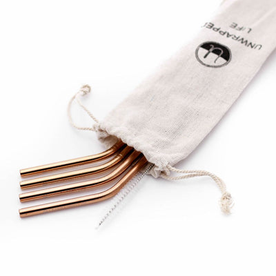 Reusable Stainless Steel Straws - Rose Gold - The Grinning Goat