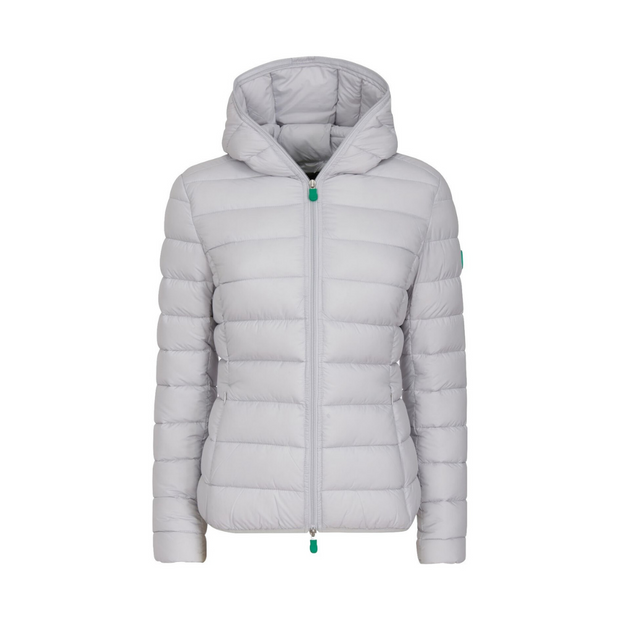 Women's Quilted Jacket (RECY) - Frozen Grey & Tango Red