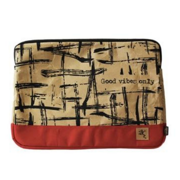 "13"" Laptop Sleeve Bi-Color - Red Good Vibes - The Grinning Goat"