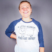 A Little Veganism Never Hurt Anybody Unisex Baseball Tee - White - The Grinning Goat