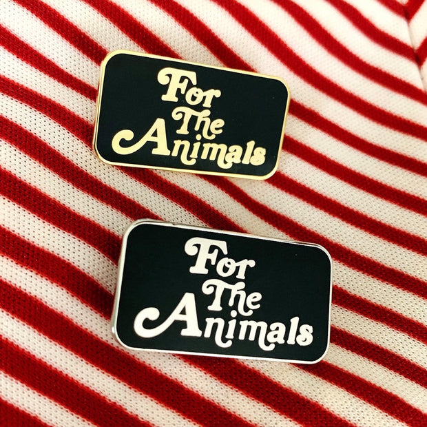 For The Animals Enamel Pin - Silver - The Grinning Goat