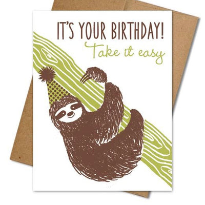 Sloth Birthday Card - The Grinning Goat