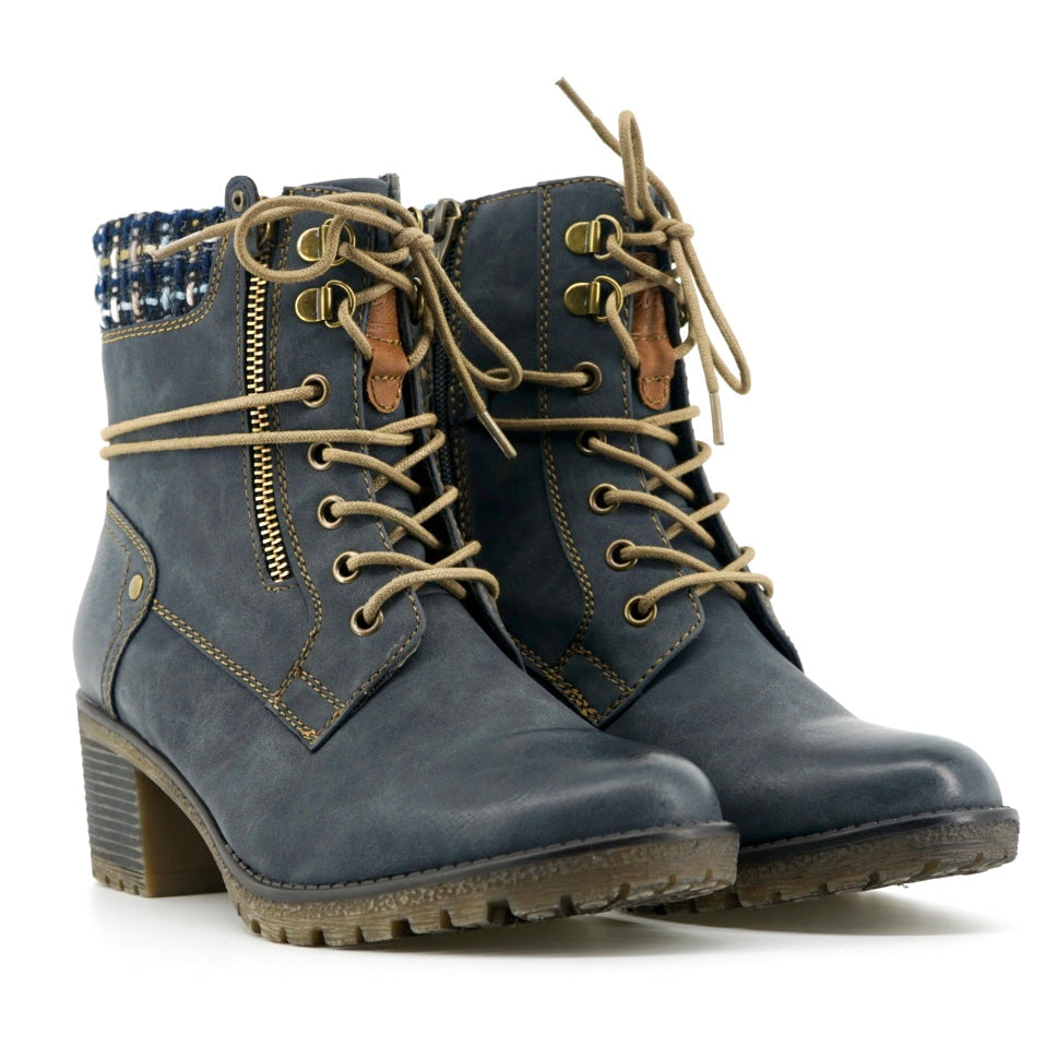 Camille Heeled Boots - Denim Blue - The Grinning Goat