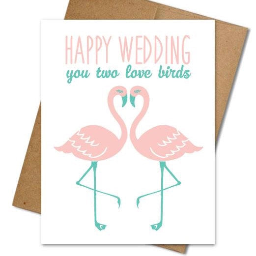 Flamingo Wedding Card - The Grinning Goat