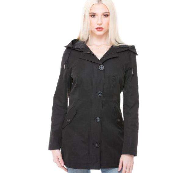 Loosen Up My Buttons Hooded Coat - Black