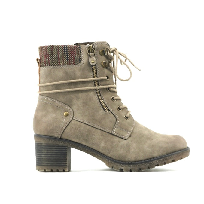 Camille Heeled Boots - Stone Grey - The Grinning Goat