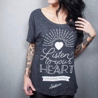 Listen to Your Heart Women's Black Slouchy Tee - The Grinning Goat