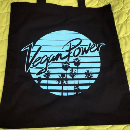 Vegan Power Organic Black Tote - The Grinning Goat