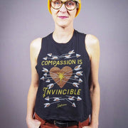 Compassion Is Invincible Crop Tank - Black - The Grinning Goat