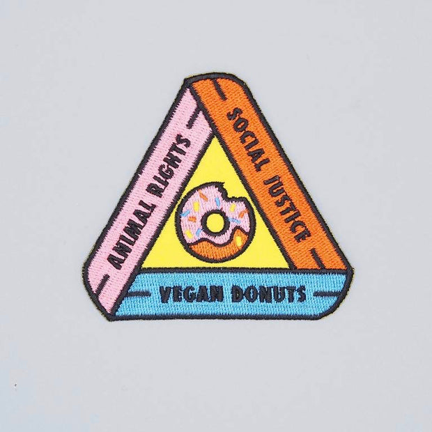 Animal Rights, Social Justice, Vegan Donuts Iron-On Patch - The Grinning Goat