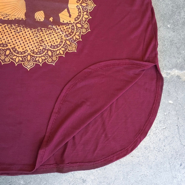 Good Luck Elephant Maroon Side Slit Tank - The Grinning Goat