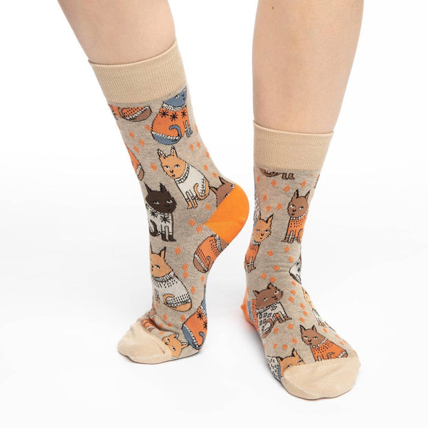 Sweater Cats Crew Socks - Women's 5-9 - The Grinning Goat