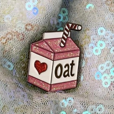Oat Milk Soft Enamel Pin - Pink Glitter - The Grinning Goat