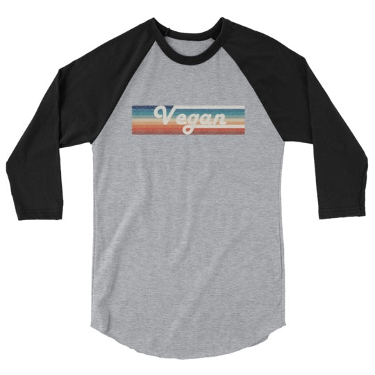 Vegan Retro Rainbow Baseball Unisex Shirt