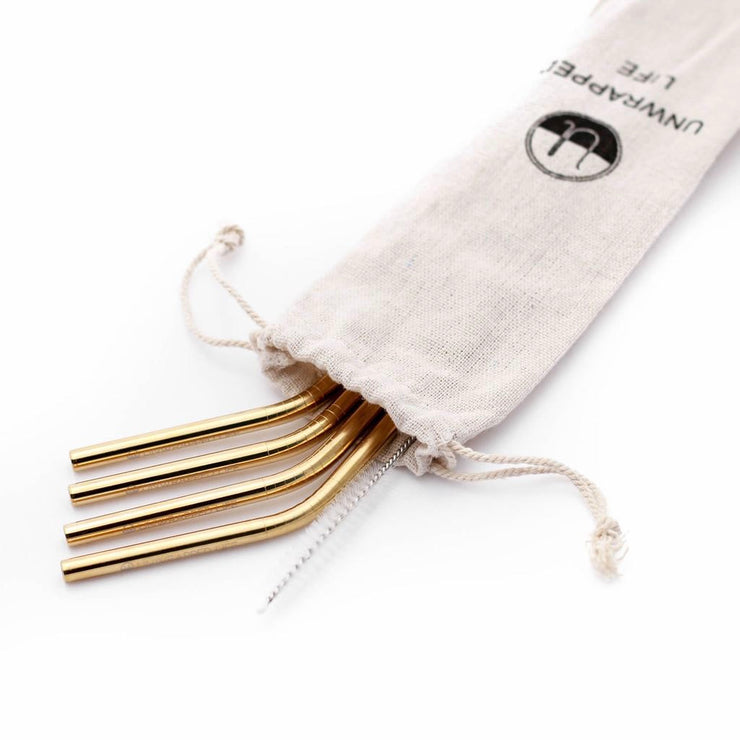Reusable Stainless Steel Straws - Gold - The Grinning Goat