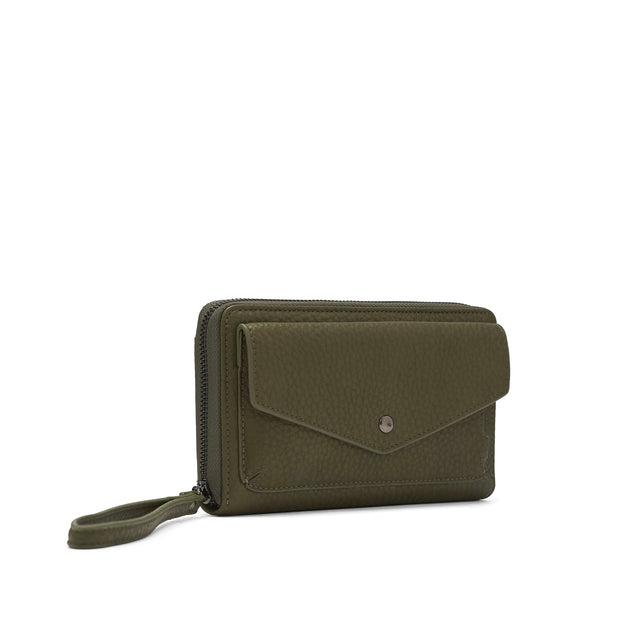 Pebble Clutch Wristlet - Leaf