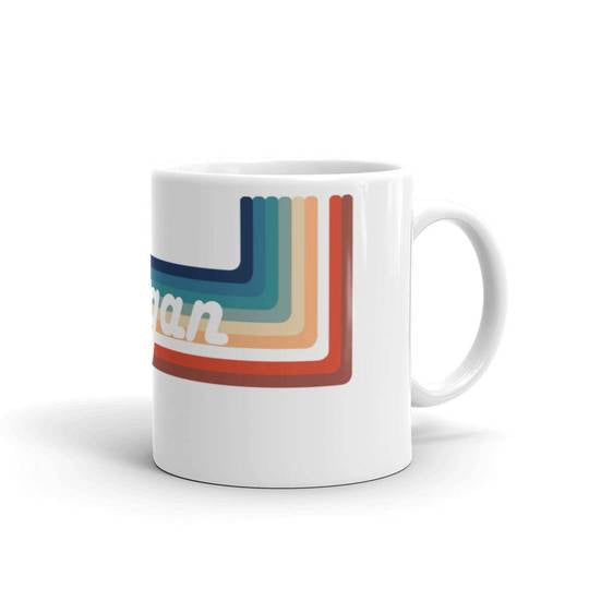 Vegan Retro Rainbow Ceramic Mug