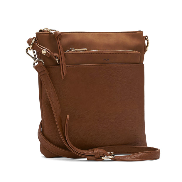 Faux Suede Flat Crossbody With Removable Pouch - Cognac - The Grinning Goat