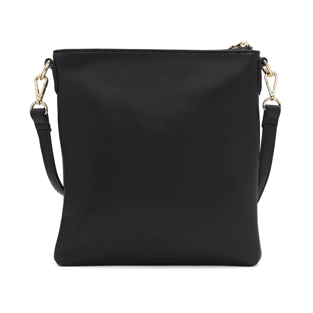Faux Suede Flat Crossbody With Removable Pouch - Black - The Grinning Goat
