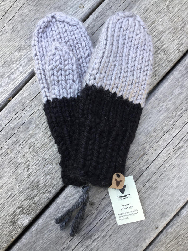 Knit Mittens - Silver/Black