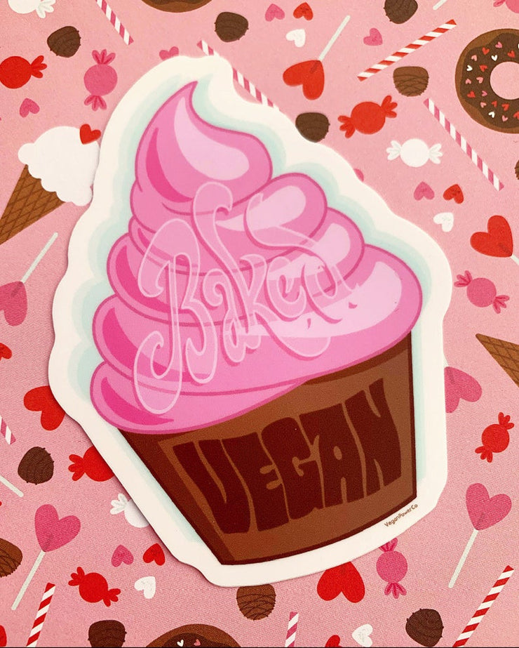 Pink Vegan Cupcake Sticker