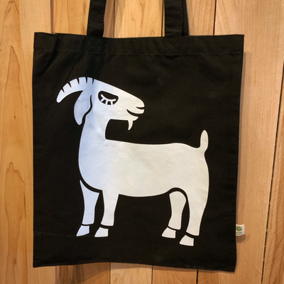 Grinning Goat Black Organic Cotton Tote - The Grinning Goat