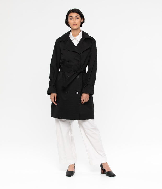 Ezra Trench Coat - Black - The Grinning Goat