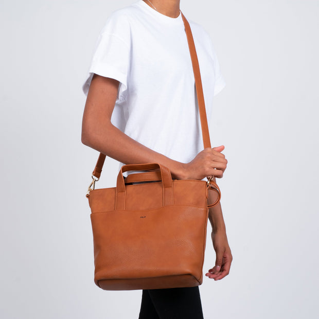 Faux Suede Tote With Removable Pouch - Cognac - The Grinning Goat