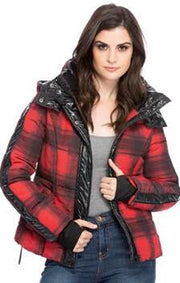 Red Plaid Hooded Winter Coat