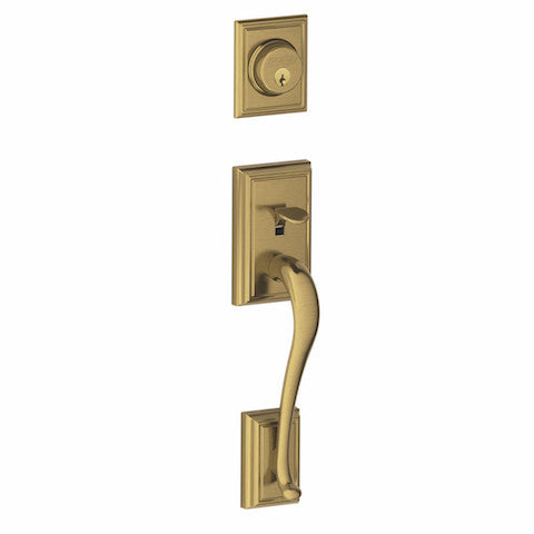 Schlage Addison Single Cylinder Handleset - Antique Brass Collection