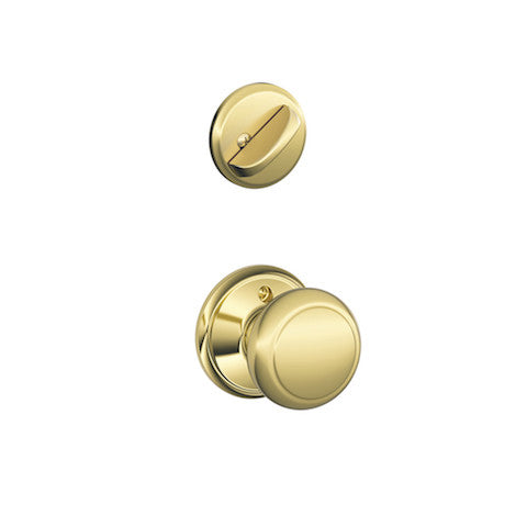 Schlage Plymouth Single Cylinder Handleset - Bright Brass Collection