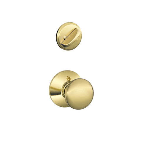 Schlage Camelot Single Cylinder Handleset - Lifetime Bright Brass Collection