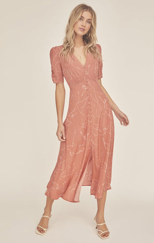 Spell Seashell Strappy Midi Dress-Coral