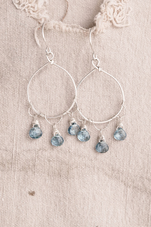 Silver Circle Blue Stone Earring