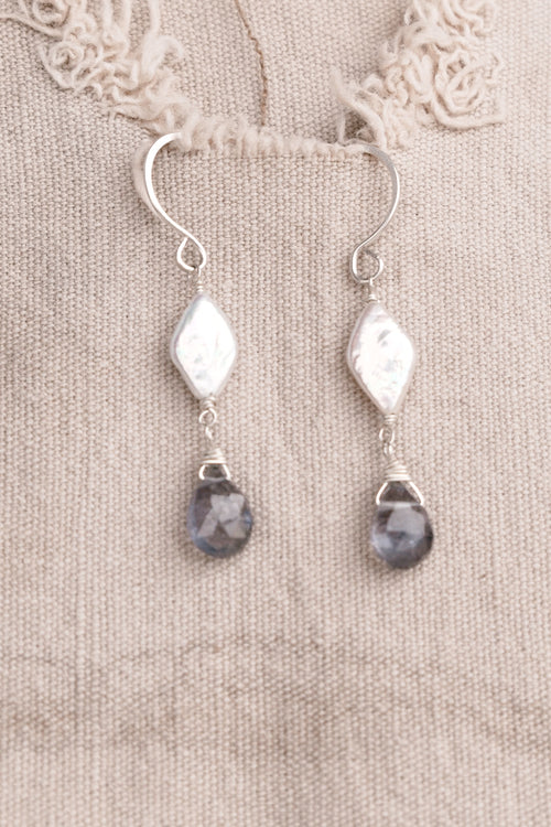 Silver with Pearl and Blue Earrings