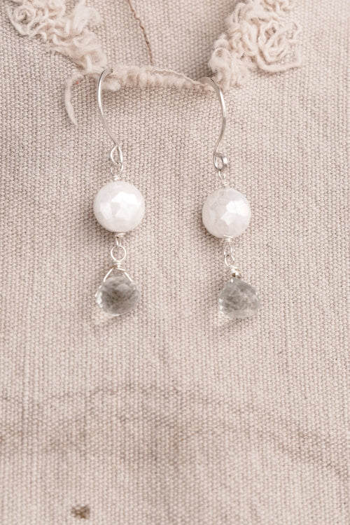 Silver with Blue White Stone Earrings