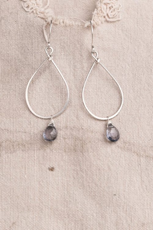 Silver Drop Blue Stone Earring