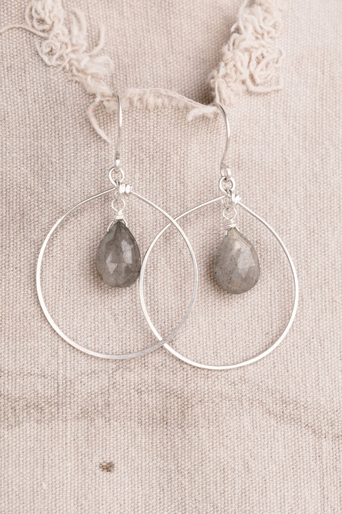 Large Silver Hoop and Grey Stone Earring