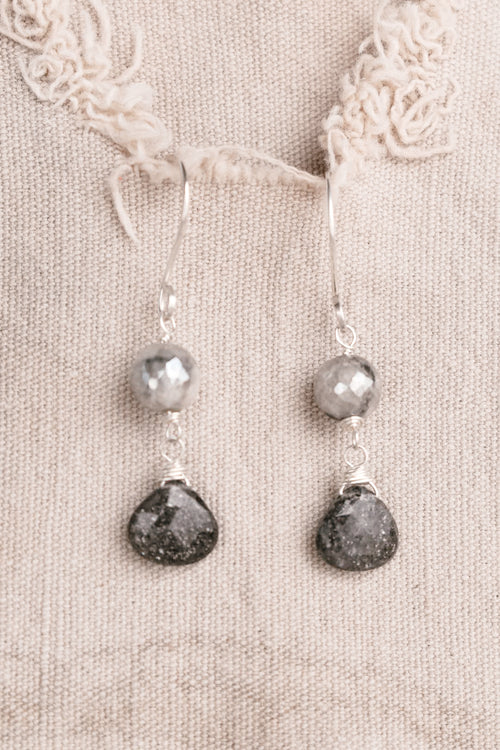 Silver with Gun Metal Stones