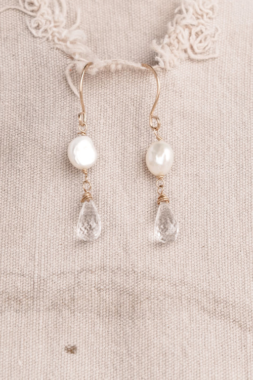 Gold with Crystal and Pearl Earrings